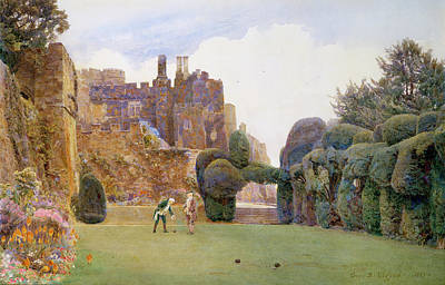 Playing Drawing - The Bowling Green, Berkeley Castle by George Samuel Elgood
