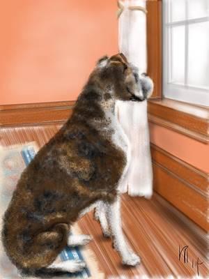 Persian Carpet Digital Art - The Boxer Waits by Lois Ivancin Tavaf