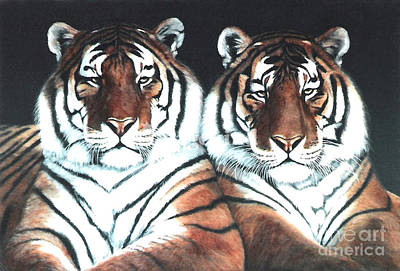 Southeast Asia Painting - The Boys    2 Tigers by DiDi Higginbotham