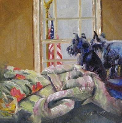 Schnauzer Painting - The Boyz And The Flag by Vicki Ross