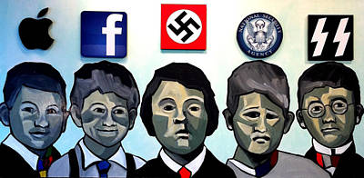 Painting - The Brat Pack Of Children As Jobs Zuckerberg Hitler Bush Himler by Kevin Davidson