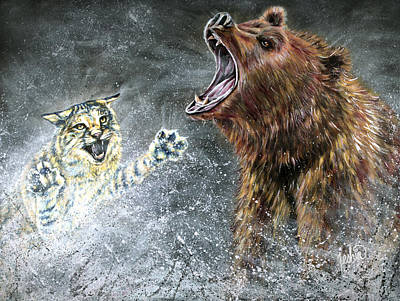 Brown Bear Painting - The Brawl by Teshia Art