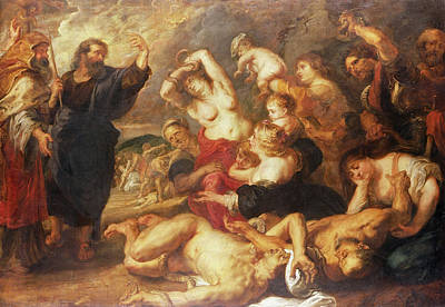 The Brazen Serpent, C.1635-40 Oil On Canvas Art Print by Peter Paul Rubens