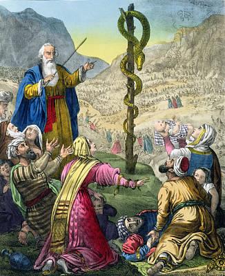 The Brazen Serpent, From A Bible Print by Siegfried Detler Bendixen