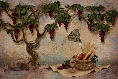 Baskets Digital Art - The Bread And The Vine by April Moen