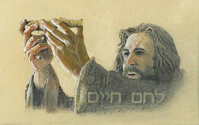 Communion Drawing - The Bread Of Life by Robert H Ward