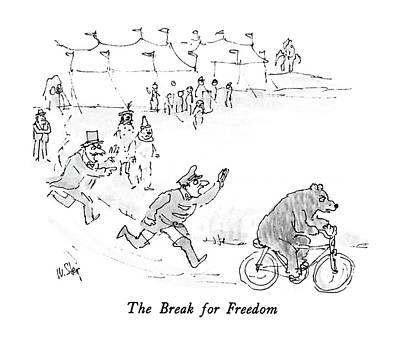 Freedom Drawing - The Break For Freedom by William Steig