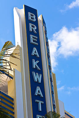 Photograph - The Breakwater Neon Sign by Ed Gleichman