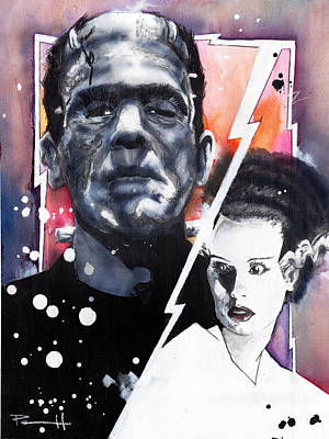 Dracula Drawing - The Bride Of Frankenstein by Sean Parnell