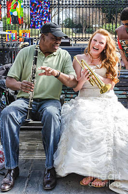Bride Photograph - The Bride Plays The Trumpet- Destination Wedding New Orleans by Kathleen K Parker