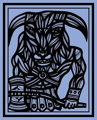 Minotaur Drawing - Dillin Minotaur Blue Black by Eddie Alfaro