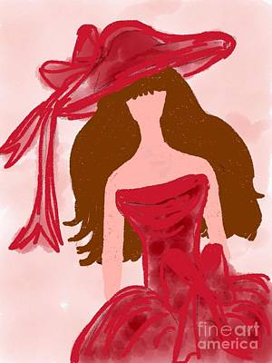 Red Gown Drawing - The Bridesmaid by Gurkirat Gill