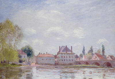 Reflecting Water Painting - The Bridge At Moret Sur Loing by Alfred Sisley