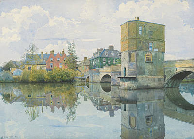 Reflecting Water Painting - The Bridge At Saint Ives by William Fraser Garden
