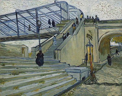 European Street Scene Painting - The Bridge At Trinquetaille by Vincent van Gogh