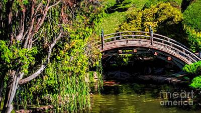 Photograph - The Bridge In The Japanese Garden by Peggy Hughes