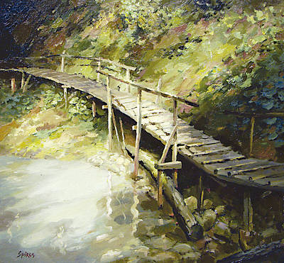 Art Print featuring the painting The Bridge In The Mountains by Dmitry Spiros
