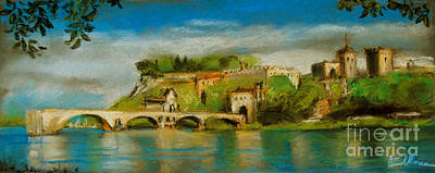 Pastel - The Bridge Of Avignon by Mona Edulesco