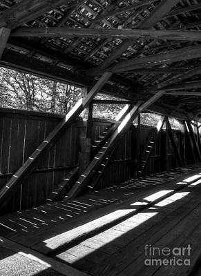Photograph - The Bridge Timbers Bw by Mel Steinhauer