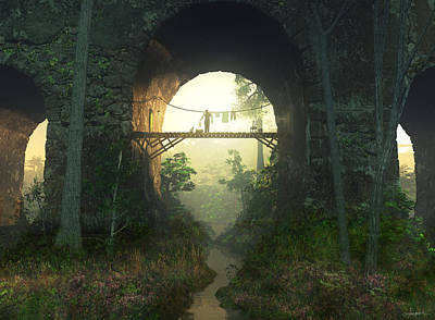 Cat Sunset Digital Art - The Bridge Under The Bridge by Cynthia Decker