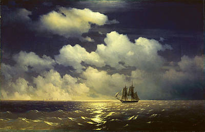 The Brig Mercury Encounter After Defeating Two Turkish Ships Of The Russian Squadron Print by Ivan Konstantinovich Aivazovsky