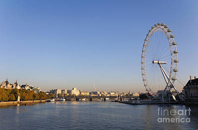 Airways Photograph - The British Airways London Eye And The River Thames In London England by Robert Preston