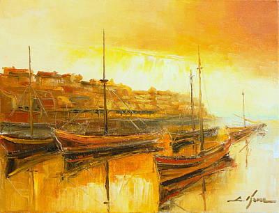 Brixham Harbour Painting - The Brixham Harbour by Luke Karcz