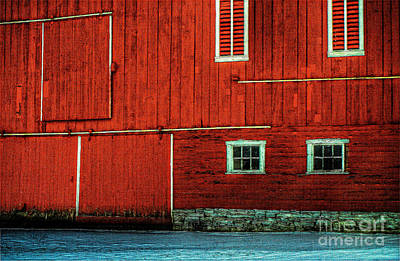 Red Barn In Snow Digital Art - The Broad Side Of A Barn by Lois Bryan