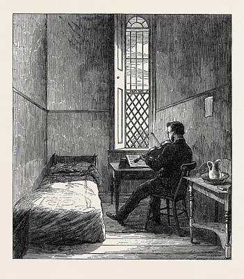 Broadmoor Drawing - The Broadmoor Criminal Lunatic Asylum Male Dormitory Uk 1867 by English School