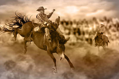 Digital Art - The Bronc Rider by Davandra Cribbie
