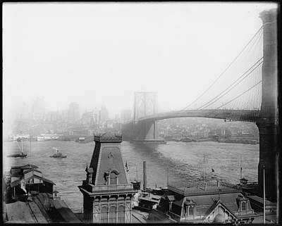 Hudson Photograph - The Brooklyn Bridge 1902 by Bill Cannon