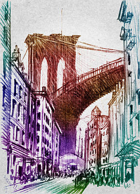 Cities Digital Art - The Brooklyn Bridge by Aged Pixel