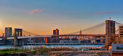 D700 Photograph - The Brooklyn Bridge And The Empire State Building by Mitchell R Grosky