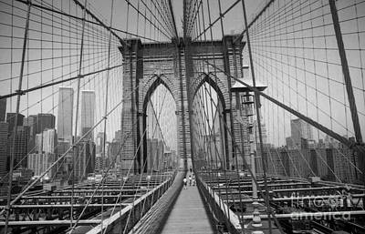 Print featuring the digital art The Brooklyn Bridge Before Nine Eleven by Steven Spak