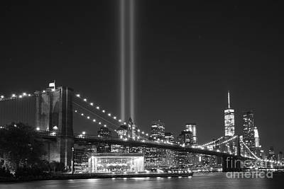 911 Memorial Photograph - The Brooklyn Bridge Bnw by Michael Ver Sprill