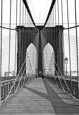 America The Continent Photograph - The Brooklyn Bridge by Underwood Archives