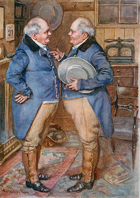 The Brothers Cheeryble, Illustration For Sketches From Dickens Compiled By B.w. Matz, 1924 Colour Art Print