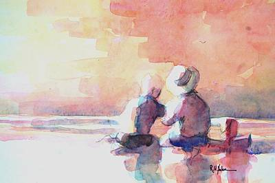 Children On The Beach Painting - The Brothers by Robert Yonke