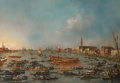 Antique Italian Oil Painting - The Bucintoro Festival Of Venice by Mountain Dreams