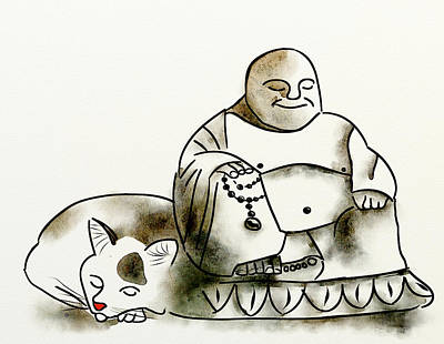 Digital Art - The Buddha And The Cat by Brett Shand