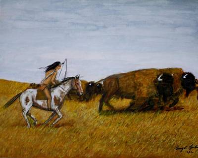 Indian Larry Painting - The Buffalo Hunter. by Larry E Lamb