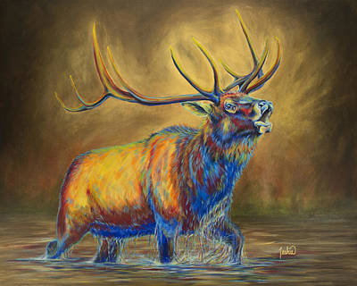 Elk Painting - The Bugle by Teshia Art