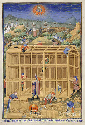 The Building Of Noah's Ark Art Print by British Library