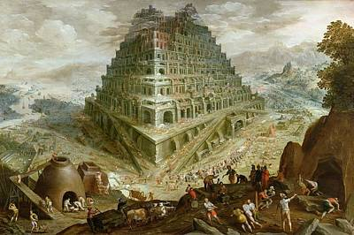 Genesis Painting - The Building Of The Tower Of Babel by Marten van Valckenborch