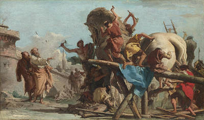 Trojan Painting - The Building Of The Trojan Horse by Giovanni Domenico Tiepolo
