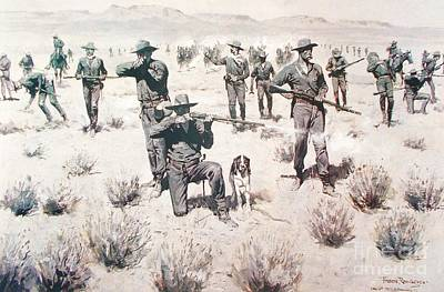 Painting - The Bullets Kicked Up Dust by Pg Reproductions
