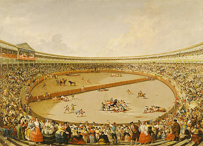 Bull Fighting Photograph - The Bullfight Oil On Canvas by Eugenio Lucas y Padilla
