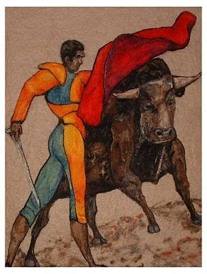 Needle Felting Tapestry - Textile - The Bullfighter by Bonnie Nash
