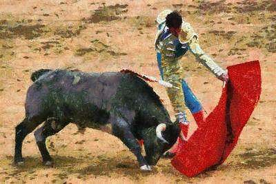 Bull Fighter Painting - The Bullfighter by Dancin Artworks