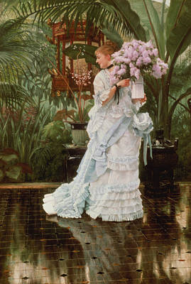 Newton Painting - The Bunch Of Lilacs, 1875 by James Jacques Joseph Tissot
